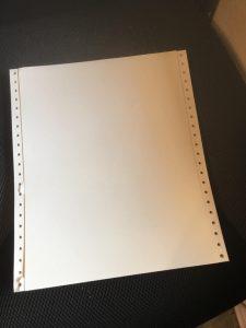 ドットマトリックスプリンターのトラクターフィード用紙