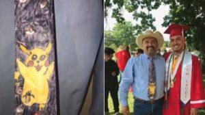 卒業式に息子の手作りピカチュウネクタイで出席したお父さん